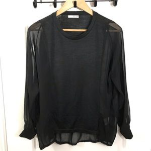 OAK + FORT Black Sheer Mix Long Sleeve Top